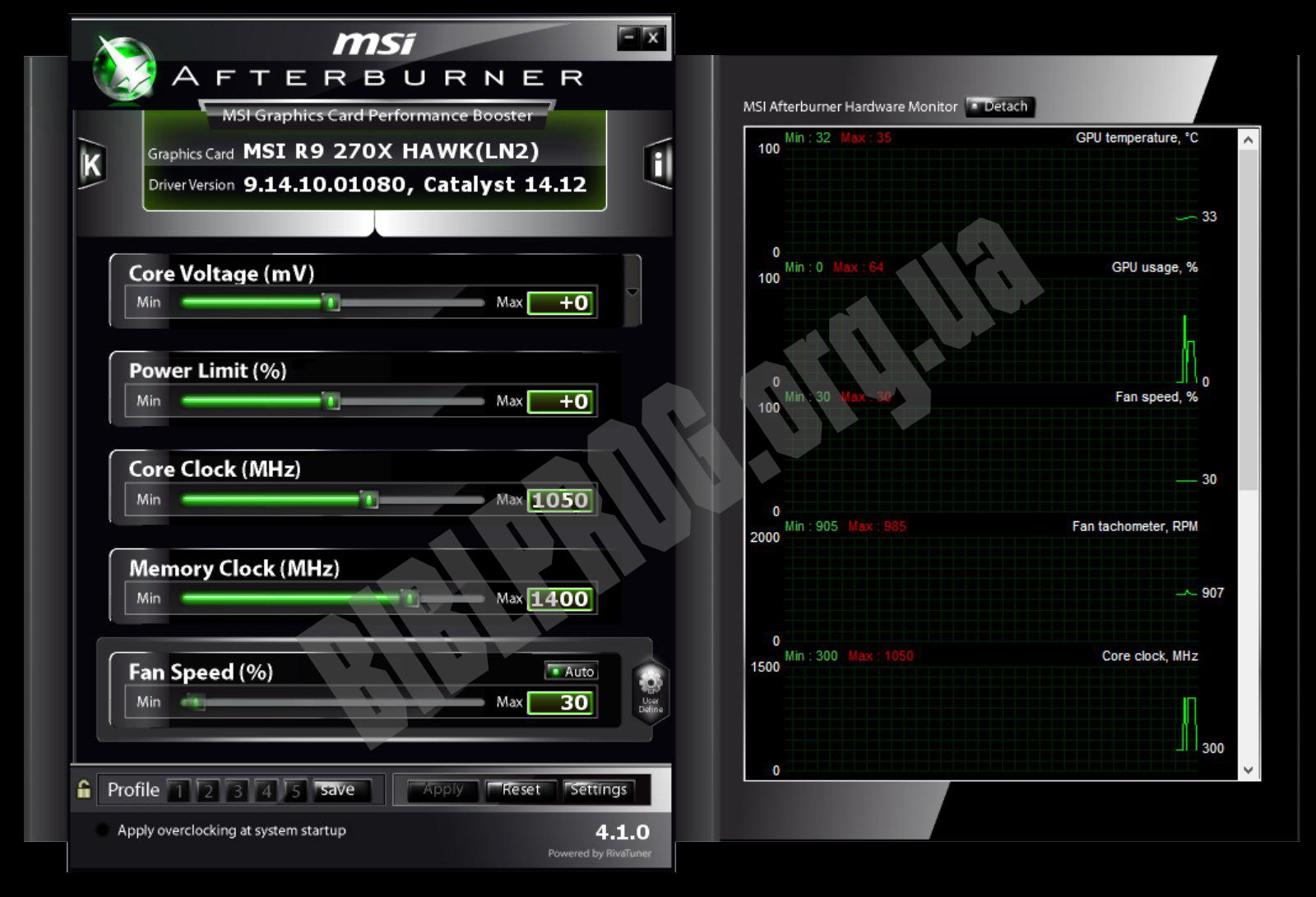 Скриншот MSI Afterburner