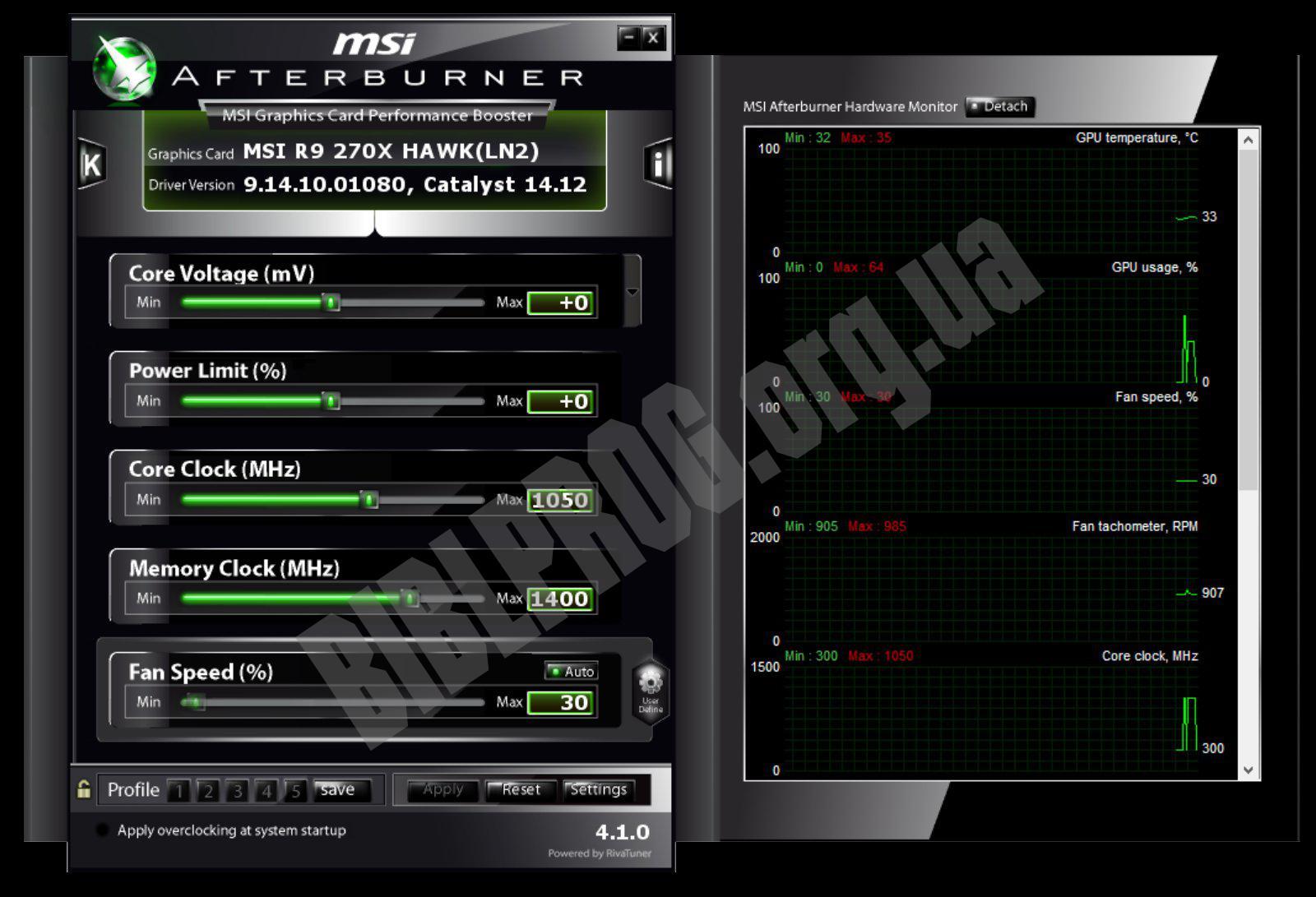Скриншот MSI Afterburner
