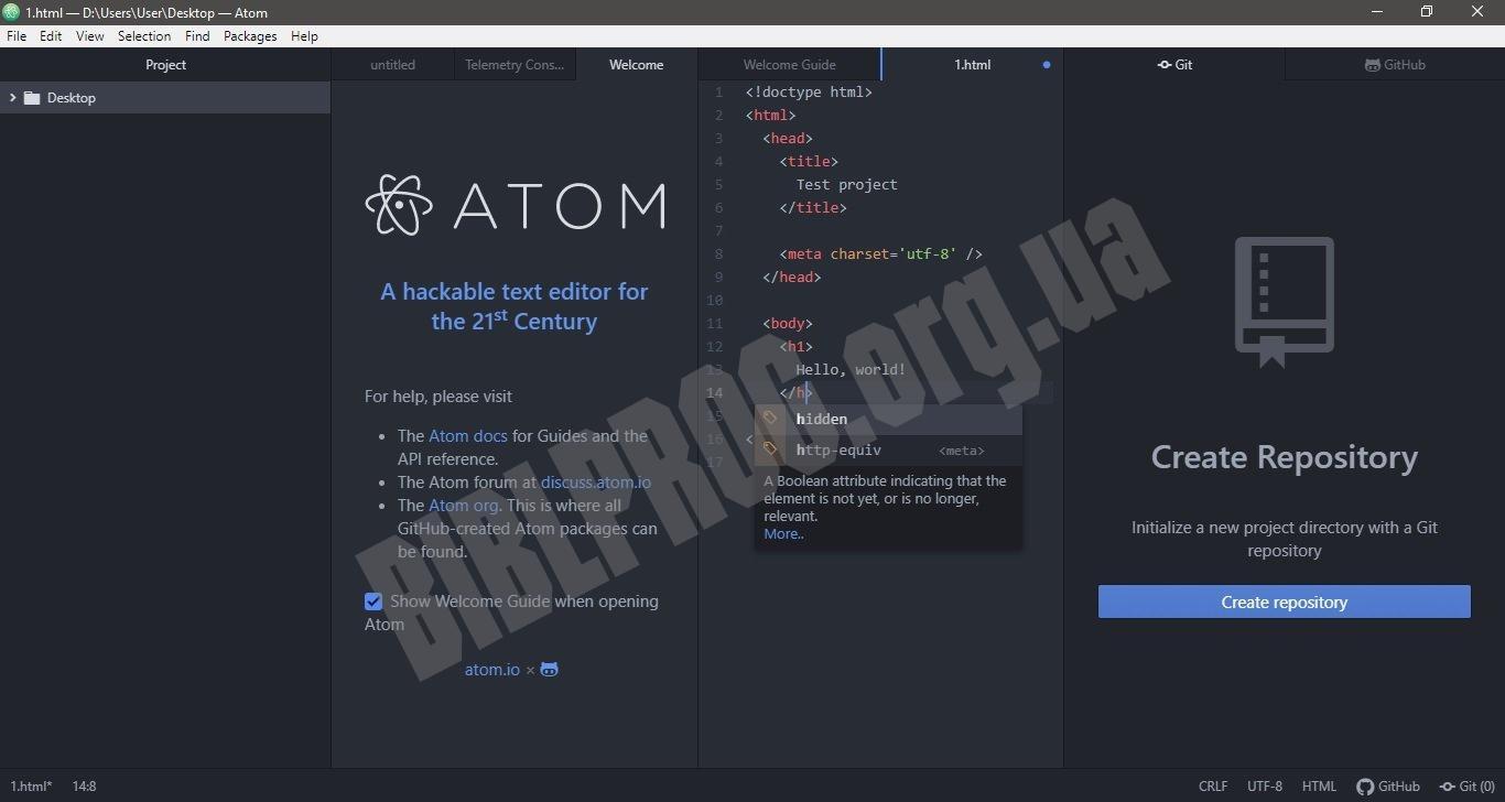 Скриншот Atom