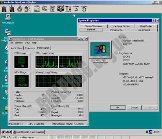Скриншот Bochs