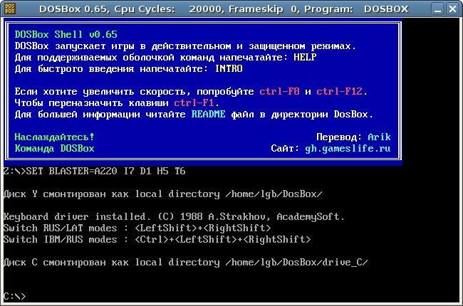 Скриншот DOSBox