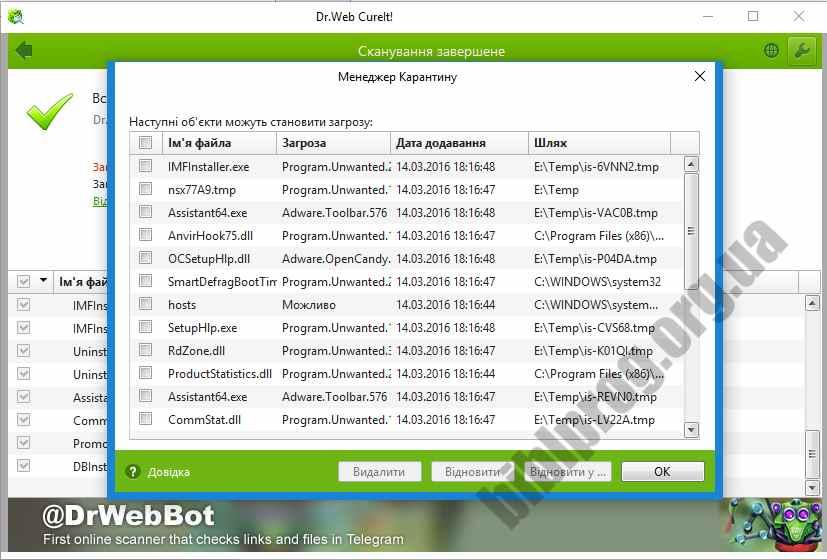 Скриншот Dr.Web CureIt!