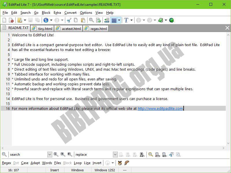 Скриншот EditPad Lite
