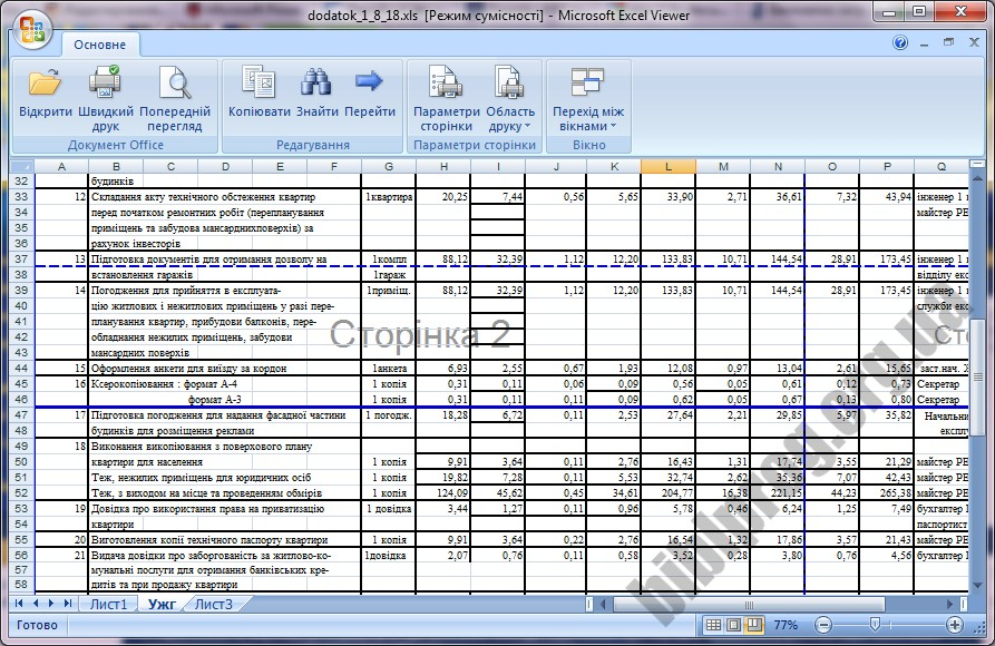 Скриншот Microsoft Office Excel Viewer