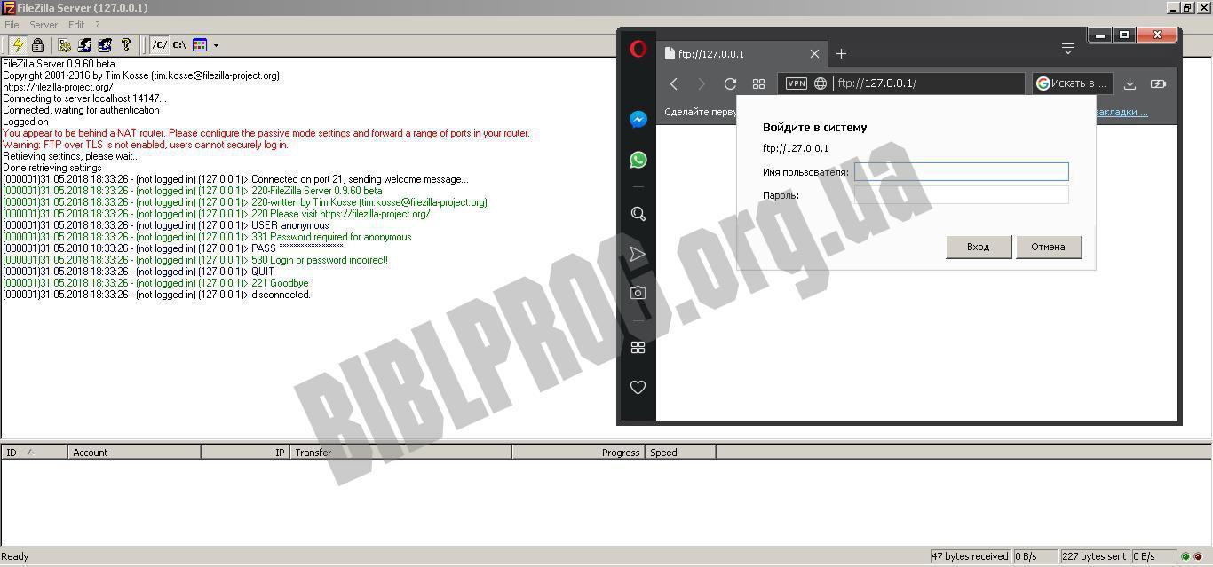 Скриншот FileZilla Server