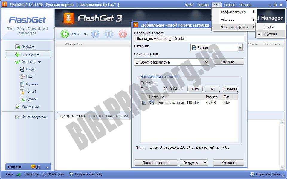 Скриншот FlashGet