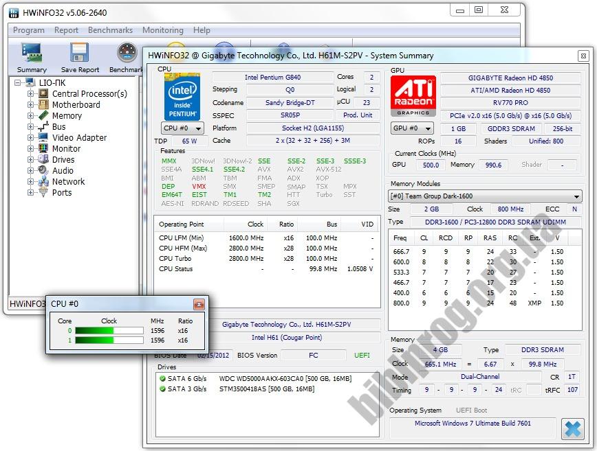 Скриншот HWiNFO