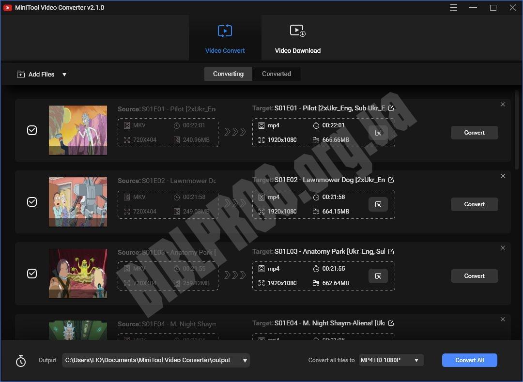 Скриншот MiniTool Video Converter