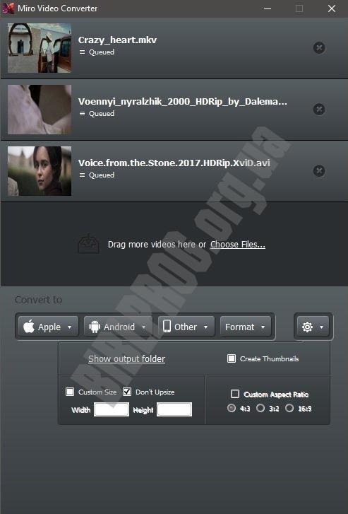 Скриншот Miro Video Converter
