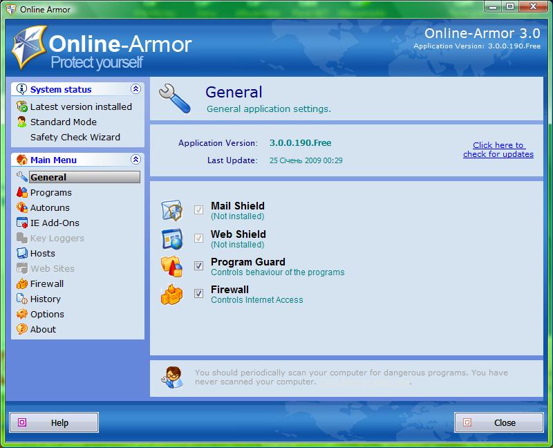 الدفاعات الفيروسات التروجانات Online Armor online_armor_persona