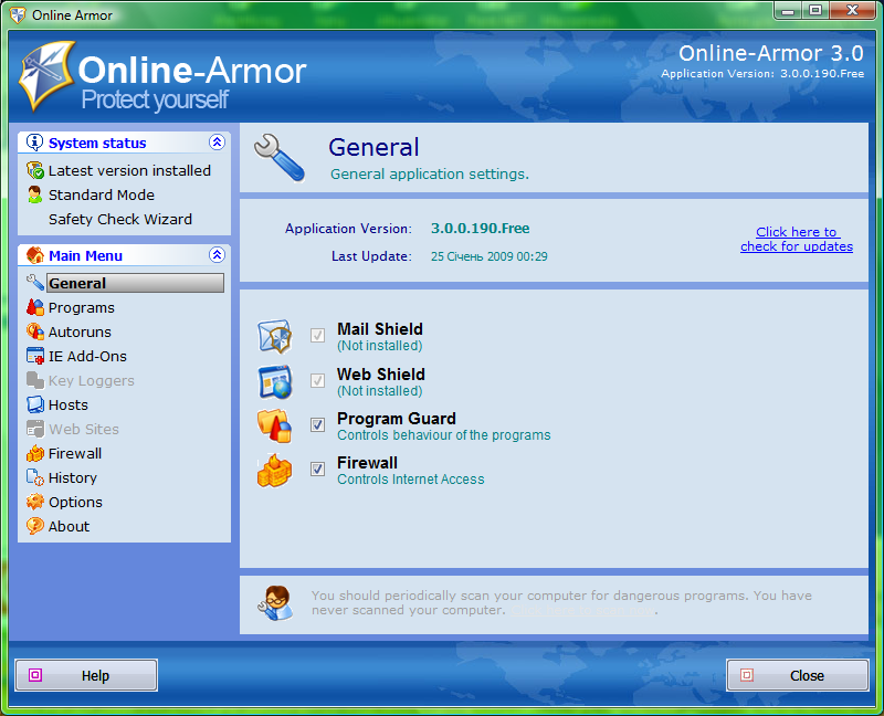 ������ Online Armor Free 3.5.0.50 ������ ����� ������ �� ����� ������