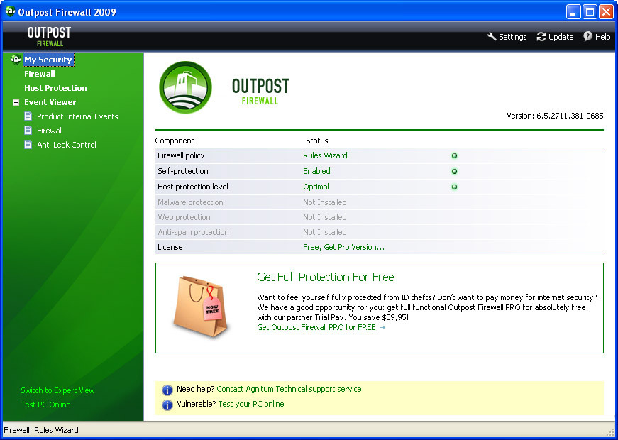 Скриншот Outpost Firewall Free