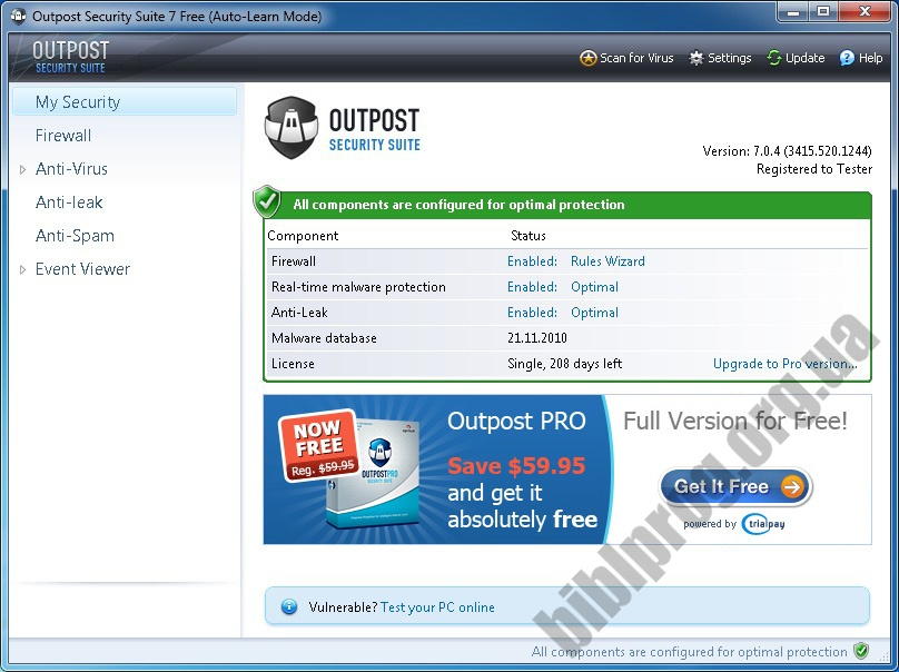 Скриншот Outpost Security Suite Free