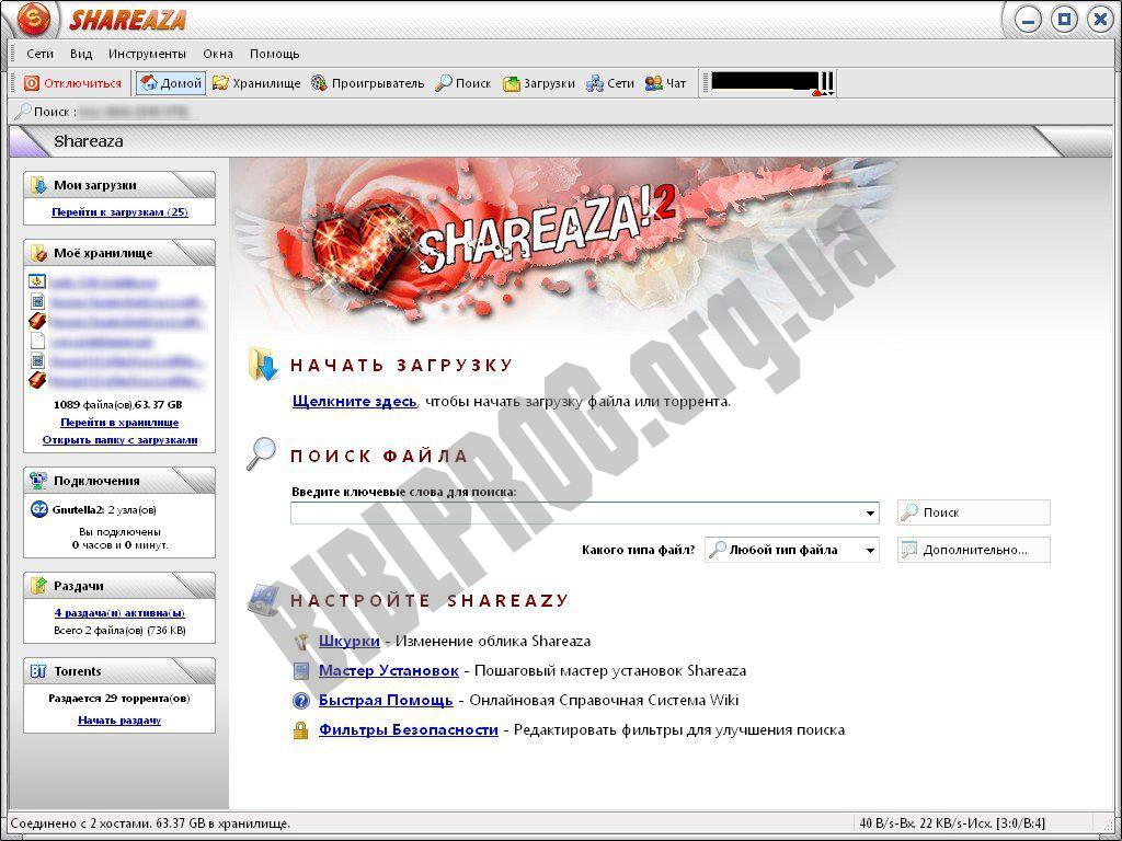 Скриншот Shareaza