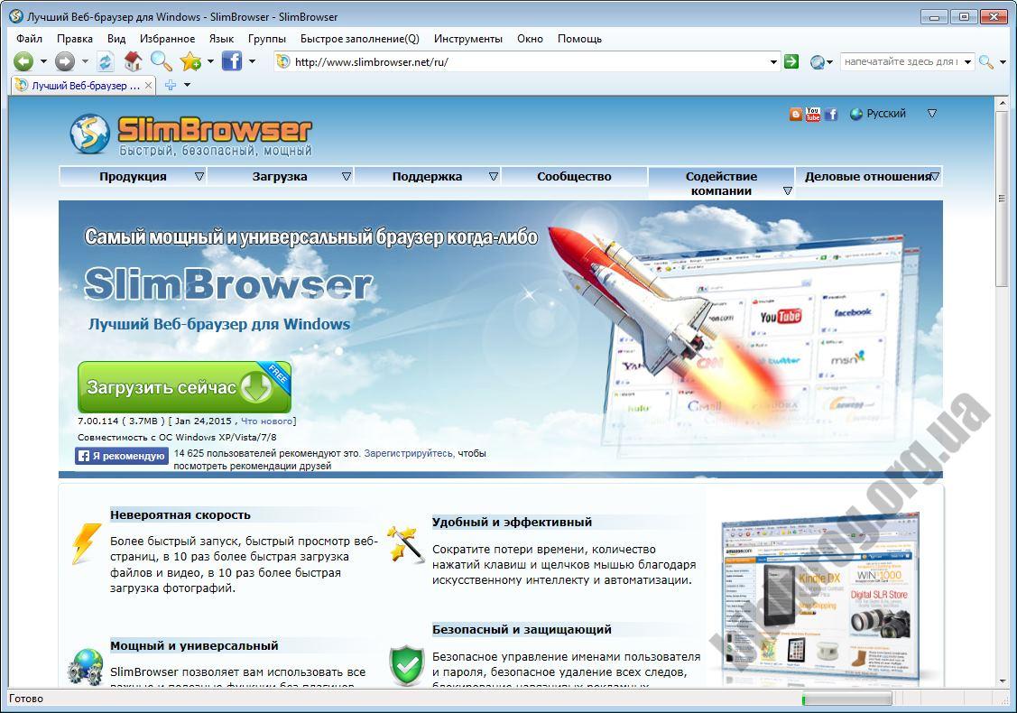Скриншот SlimBrowser