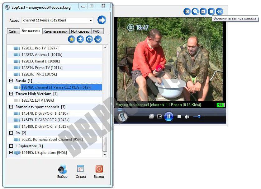 Скриншот SopCast