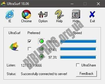 Скриншот UltraSurf