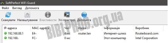 Скриншот SoftPerfect WiFi Guard