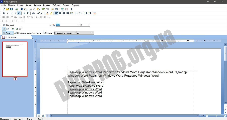 Скриншот Windows Word