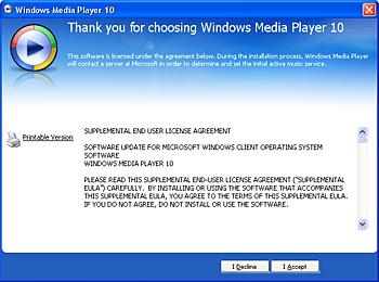 licence windows media player 10