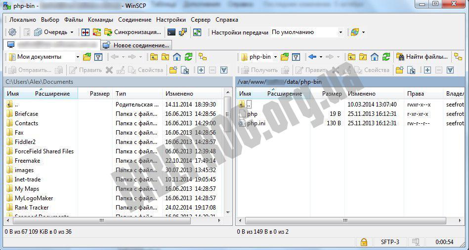 Скриншот WinSCP