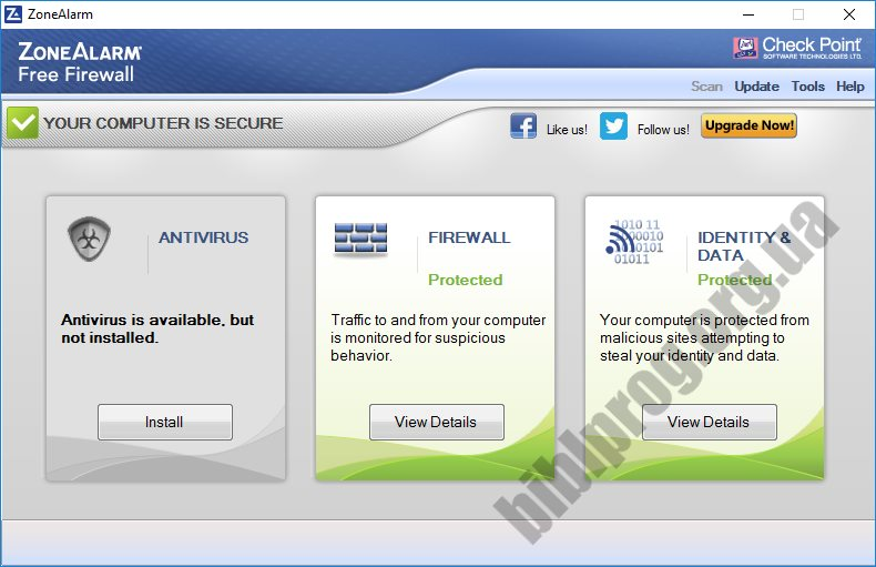 Скриншот ZoneAlarm Free Firewall